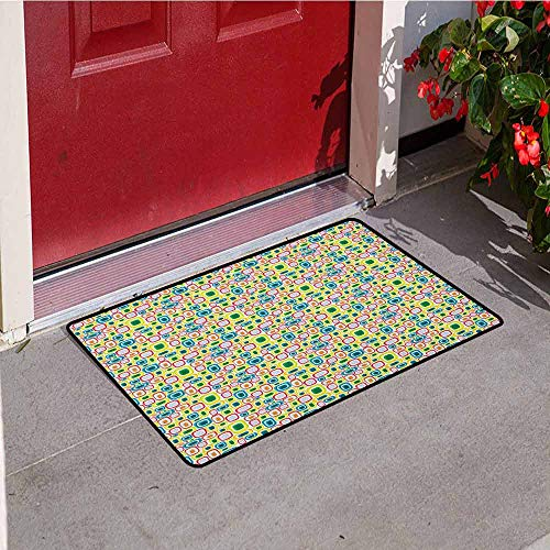 Gloria Johnson Geometric Commercial Grade Entrance mat Colorful Retro Squares with Bullseye Vintage Inspirations Abstract Illustration for entrances garages patios W23.6 x L35.4 Inch Multicolor ()