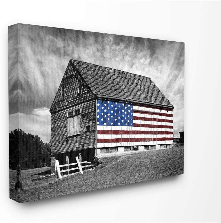 Stupell Industries Black and White Farmhouse Barn American Flag Canvas Wall Art, 24 x 30, Design by Artist James Mcloughlin