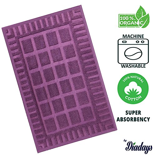 Diadays 100% Organic 2018 Designed Plaid Purple Bath Mat for Bathroom Floor Antibacterial Turkish Cotton Reversible and Machine Washable Rug 20x28 Mildew Resistance Super Absorbent