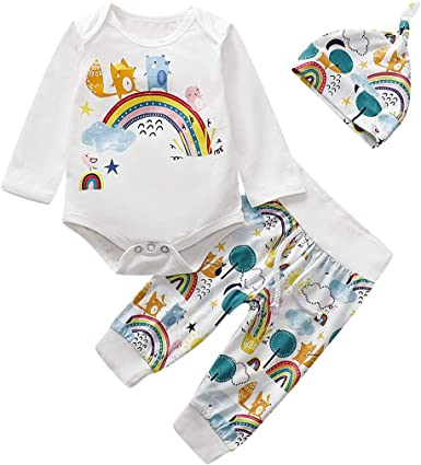 Pants+Hat Outfits Clothes Set Newborn Infant Baby Girls Boys Cloud Romper Tops