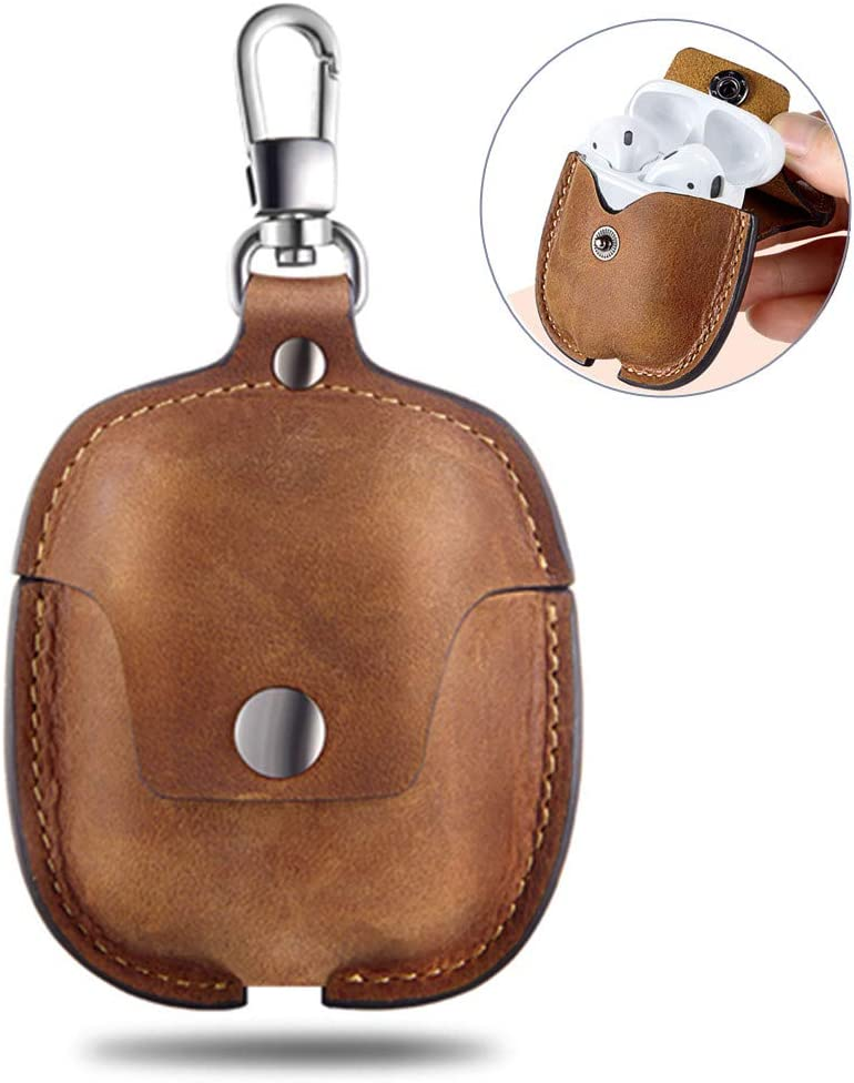 AirPods Case Leather Genuine Leather Protective Portable Shockproof Cover with Key Chain Compatible with Apple AirPods 2 /& 1 Charging Case Brown