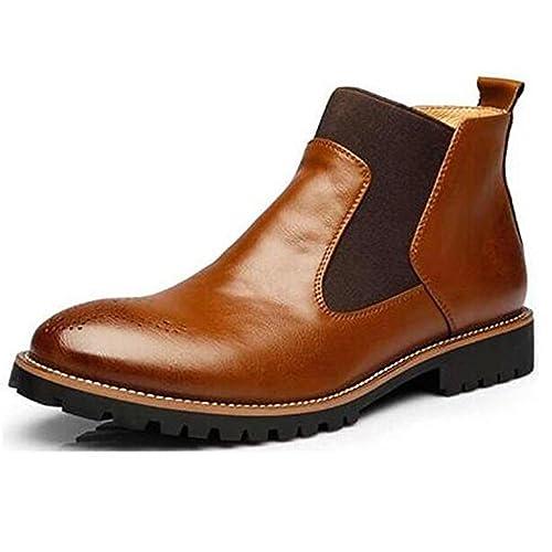 Chelsea Botas de Piel de Invierno de Los Hombres, Estilo Británico Botines de Moda, Negro/Marrón/rojo Abarcas de Cuero Suave: Amazon.es: Zapatos y ...