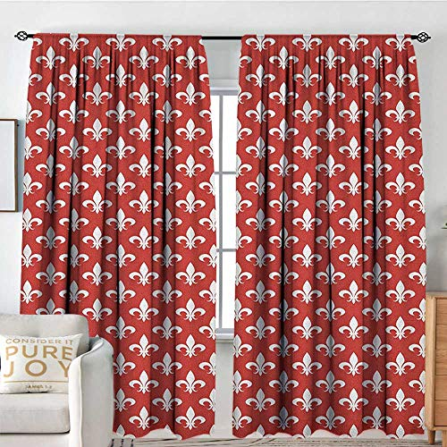 - Blackout Curtains Fleur De Lis,Ancient Heraldic Pattern with Abstract Floral Elements Curved Leaves and Bud, Red White,for Bedroom,Nursery,Living Room 84