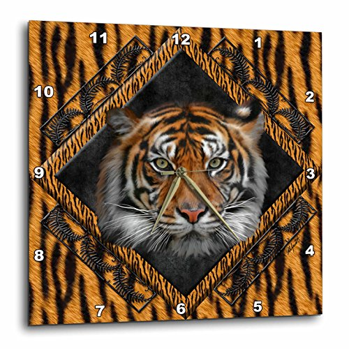 Tigers Wall Clock - 3dRose dpp_12004_1 Wall Clock, Diamond Tiger, 10 by 10-Inch