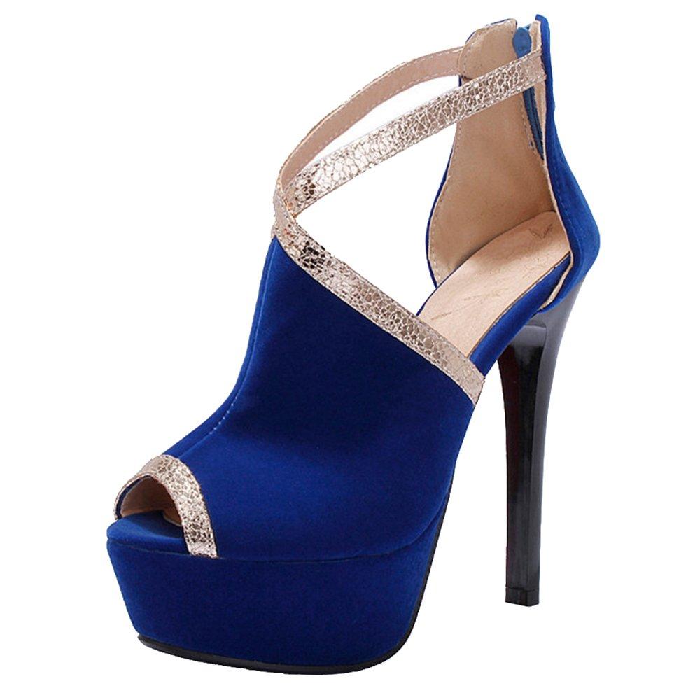 TAOFFEN Damen Sandalen Peep Toe Stiletto Sandaletten Sommer  40.5 EU|Blue