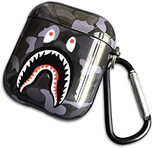 Shark Teeth Softshell Silicone Camouflage Airpods Case, IMD Case Shockproof Case Skin with Key Ring, Suitable for Apple Airpods 1 & 2 Charging Box (Black)
