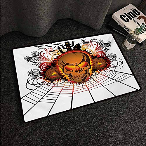 HCCJLCKS Washable Doormat Halloween Angry Skull Face on Bonfire Spirits of Other World Concept Bats Spider Web Design Machine wash/Non-Slip W35 xL47 Multicolor
