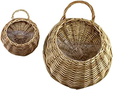 Melo-bell Hand Made Wicker Rattan Flower Basket Hanging Gardening Wall Decoration Pot Planter Vase Container Wall Plant Basket for Home Garden Wedding Wall Decoration