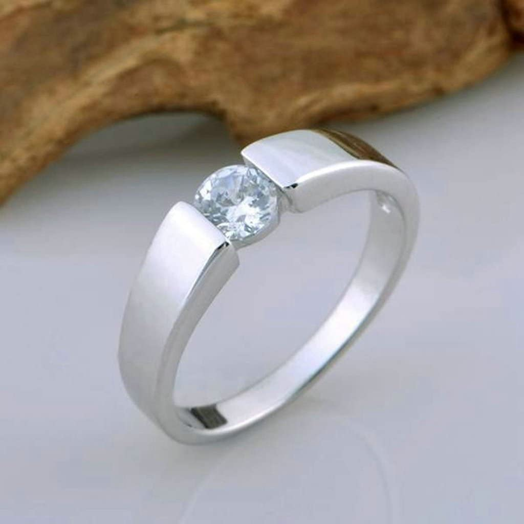 Price One Pc Gnzoe Men Wedding Ring Band Silver Plated Rings Round Cut Cubic Zirconia Ring 6//5MM