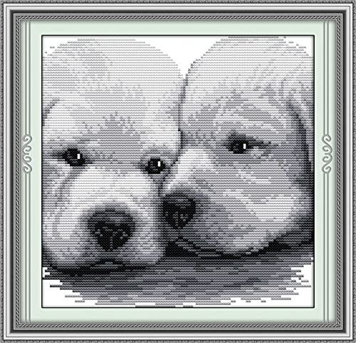 Lean Close Together 27/×27CM Joy Sunday Cross Stitch Kit 14CT Stamped Embroidery Kits Precise Printed Needlework