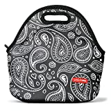 Small Lunch Bags for Women, Yookeehome Reusable Neoprene Lunch Tote Insulated Thermal Lunch Bag for Adults Men Women Boys Girls Nurse Office Worker, Paisley