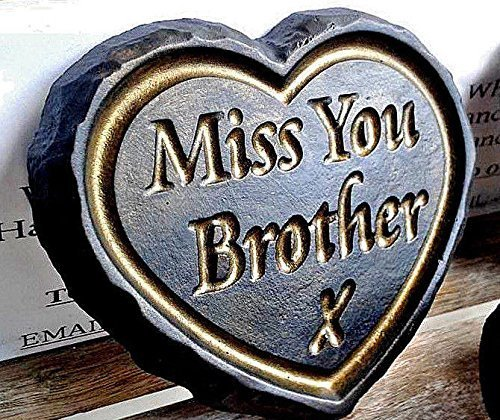 """Miss You Brother"" Black & Gold ENGRAVED STONE Heart Memorial Graveside Garden Plaque"