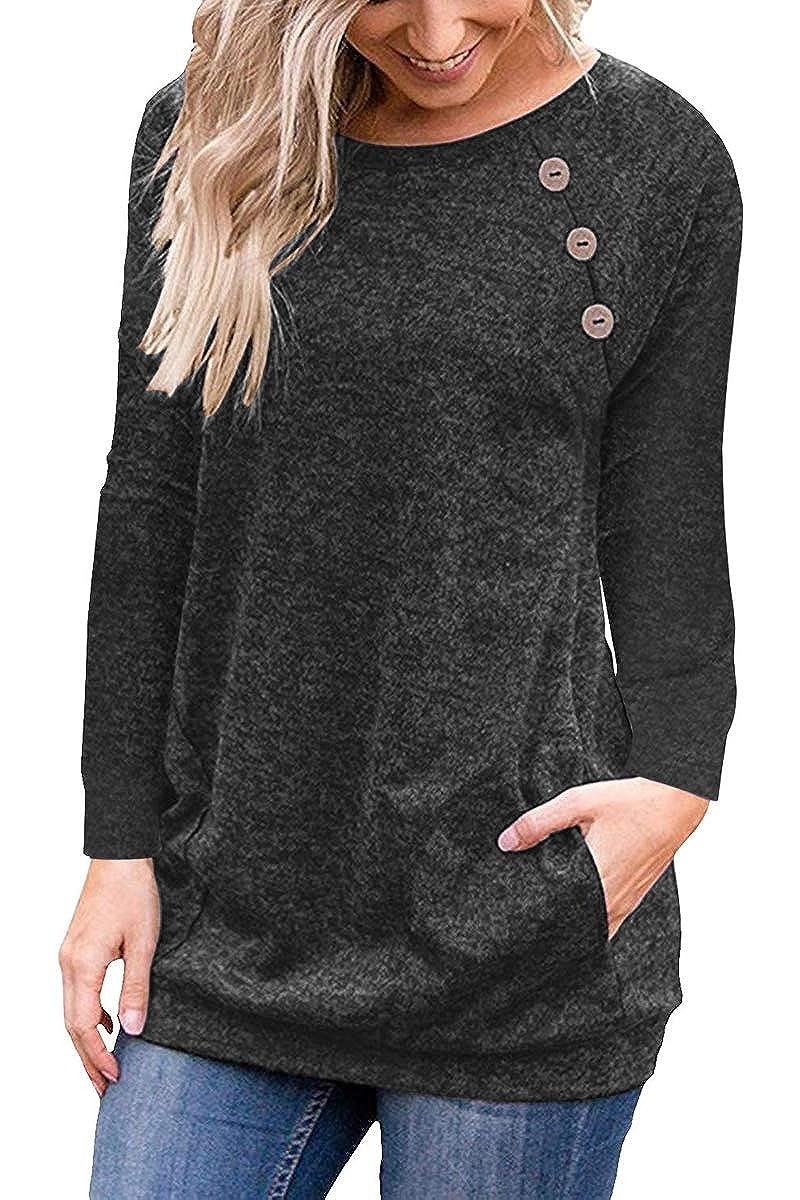 Black Meyeeka Womens Crew Neck Long Short Sleeve Button Decor Casual Blouse Tunic with Pocket