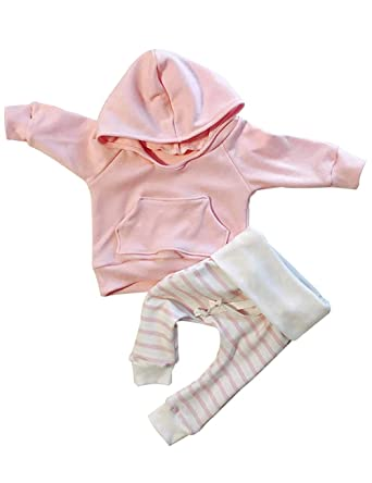 ac777d1f0ae4 Newborn Baby Girls Clothes Pink Stripe Long Sleeve Hoodie Tops+Pants  Outfits Set(0
