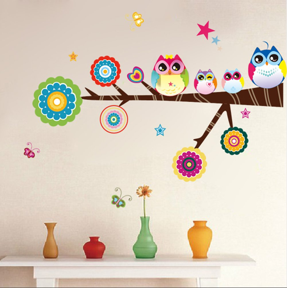 amazoncom owl family playing on branches owl wall decal sticker nursery wall decal baby
