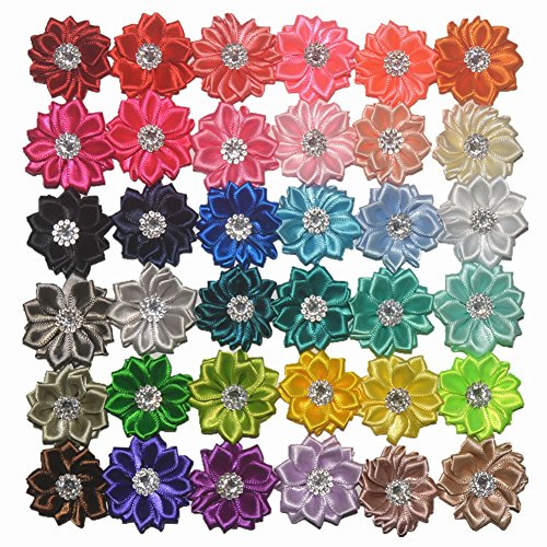45PCS Assorted Colours DIY Flower Headbands Decorative Wedding Flowers Handmade Satin Rhinestone Flowers Women Ribbon Fabric Flowers (1.45 Inch - 45 Color) ()