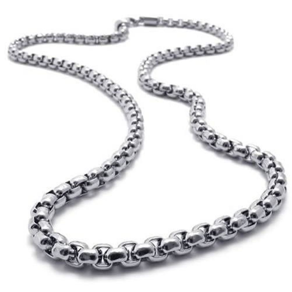SANDRA Mens Jewelry 2mm-5mm 16''-40'' Silver Stainless Steel Square Rolo Necklace Chain - 28 inches 2.0 mm