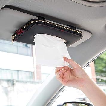 KIMISS Car Sun Visor Tissue Box,PU leather Organizer Storage Temporary Parking Card Holder