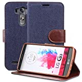 Fosmon® LG G3 Case (CADDY-JEANS) Denim Exterior with Smooth Leather Interior Multipurpose Wallet Case Cover with Stand Function & Card Slot - Fosmon Retail Packaging (Denim Black)