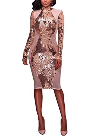 3cccf2c618e89 Annystore Women's Sexy Long Sleeve Sequin Mesh Blackless Midi Bodycon Party  Dress Clubwear at Amazon Women's Clothing store: