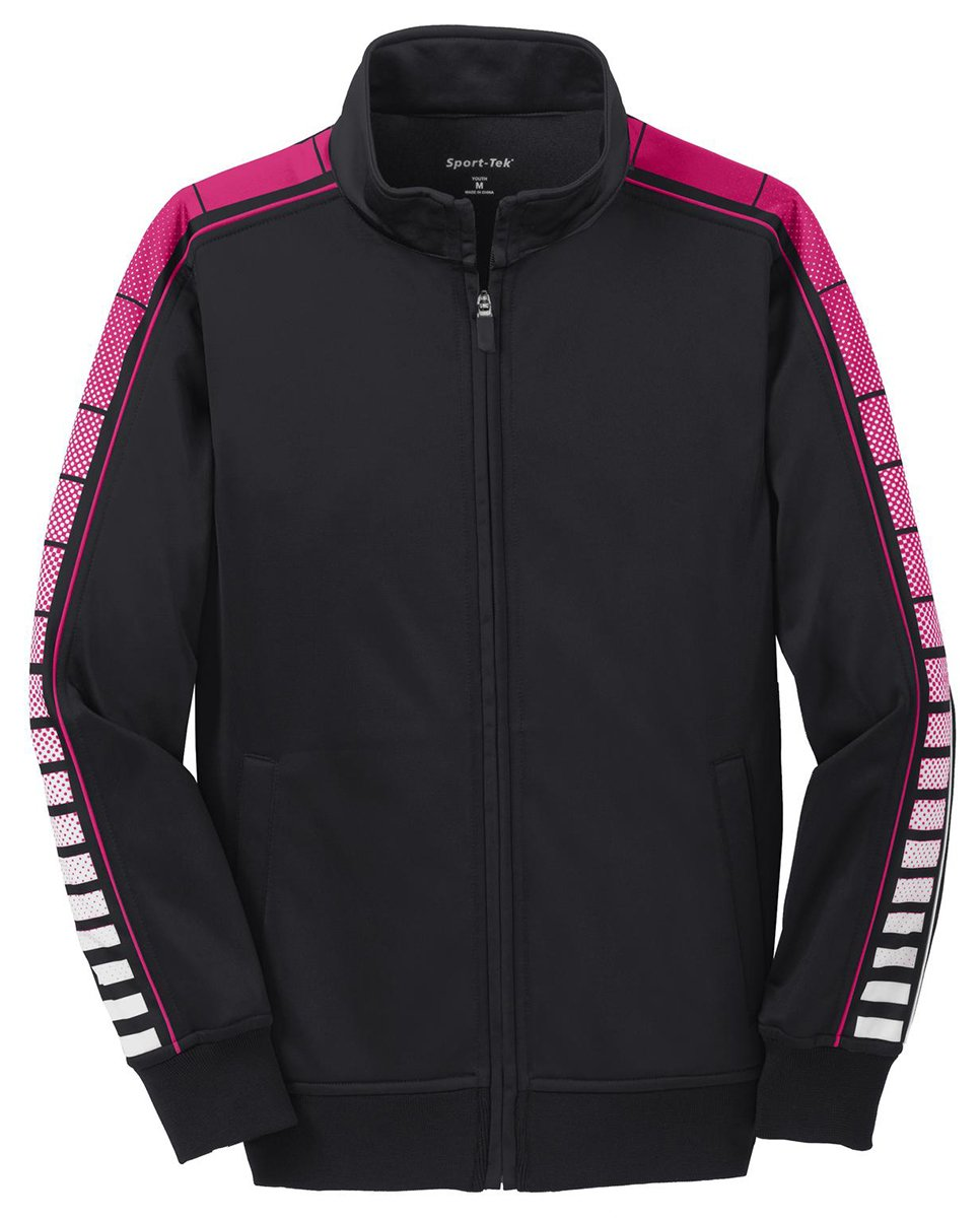 Sport-Tek Youth Dot Sublimation Tricot Track Jacket_Black/ Pink Raspberry_Large by Sport-Tek