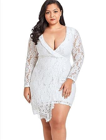 LUCKY-U Frauenkleid, Plus Size White V-Ausschnitt Lace Sexy Kleider ...