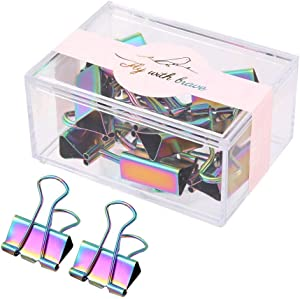 Colorful Rainbow Decorative Binder Clips with Dispenser,Holographic Paper Document Metal Clamp Artwork, Snack Bag Sealing Clips, 10Pcs in Reusable Organizer for Office School, 25mm Medium Size