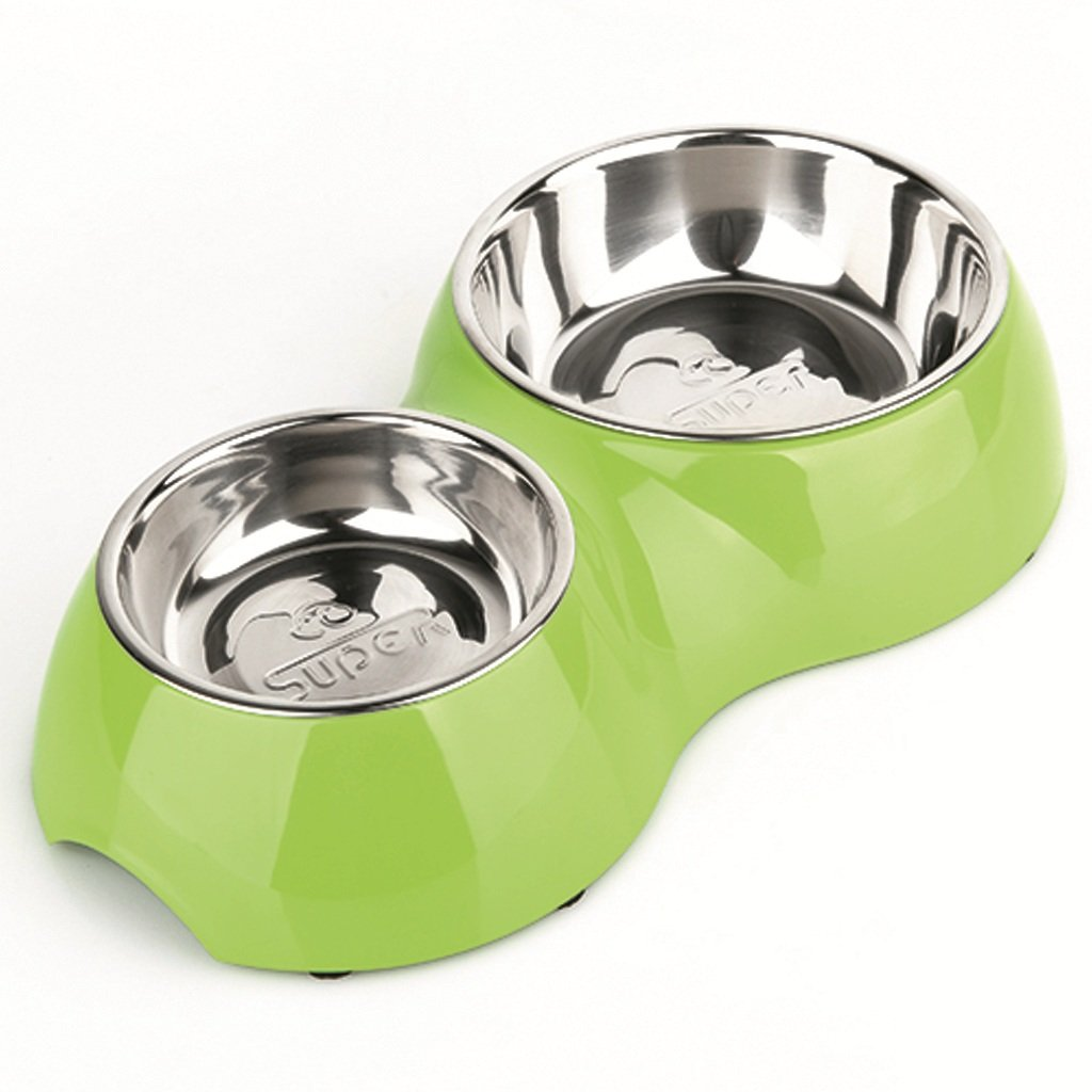 Doppia Ciotola per Animali Domestici in Acciaio Inox per Gatti con Scodella Doppia Ciotola per Cani per Animali (Blu) (colore   verde)