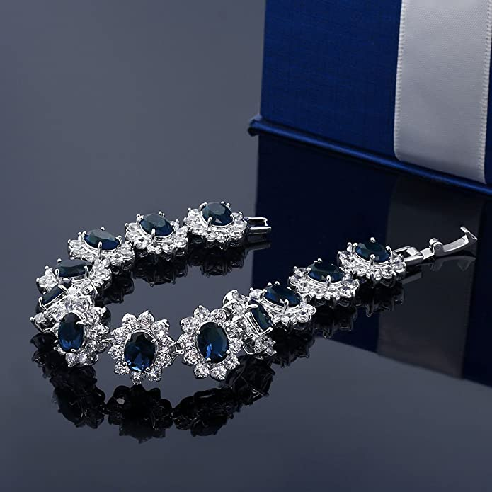 Jewelry & Watches Qualified Natural Blue Sapphire & White Cz Earrings 925 Sterling Silver White Gold Plated