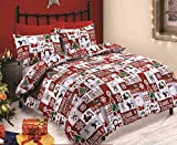 Velosso Christmas Fun Patchwork Reindeer Penguin Snowman Santa Duvet/Quilt Cover Red/White Xmas Bedding Set (Single)