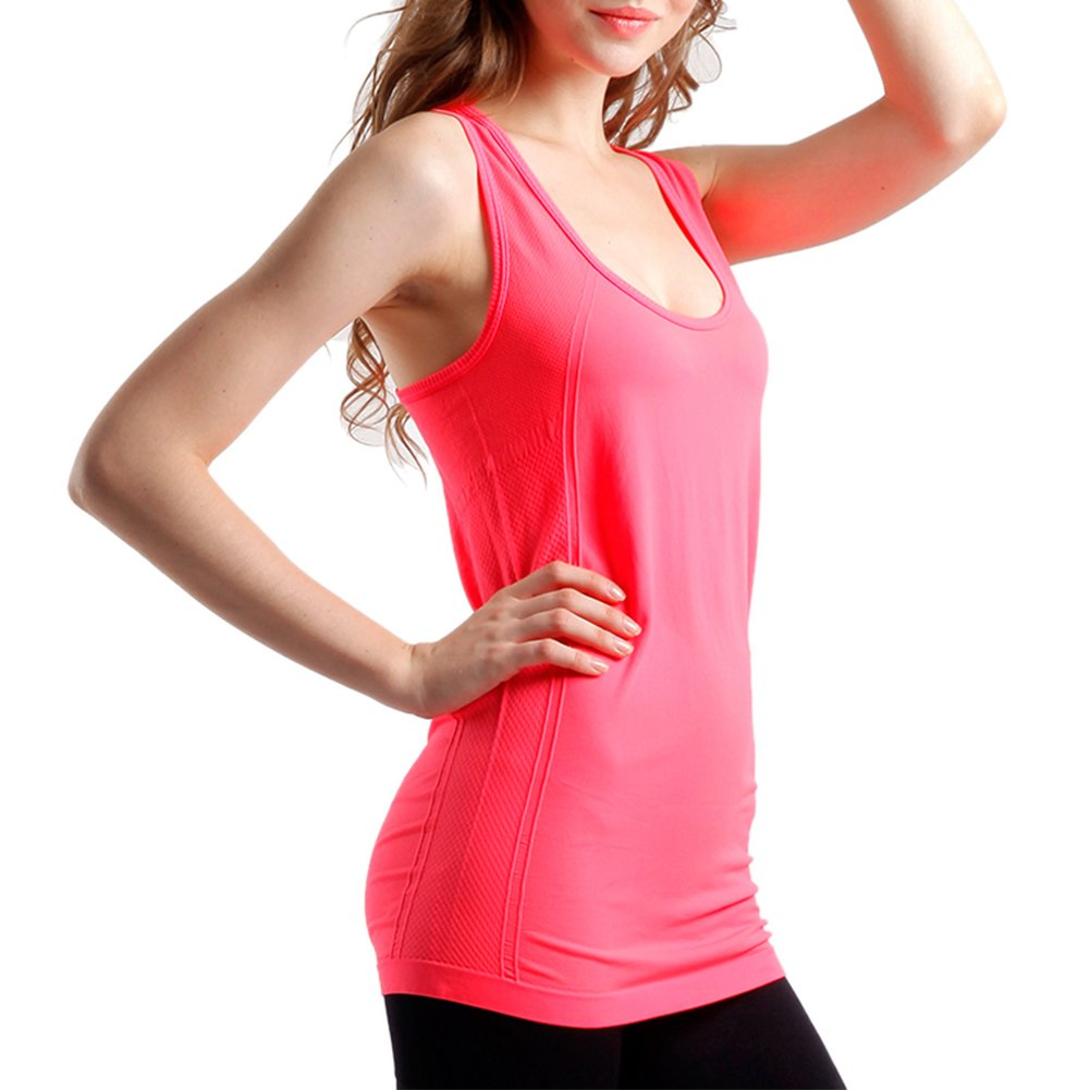 BollyQueena Workout Tops, Women's Tank Top in Womens Orange Red S