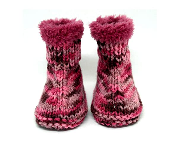 Botines tejidos a mano, Botines de niña, Bebé uggs, Zapatillas de niña,
