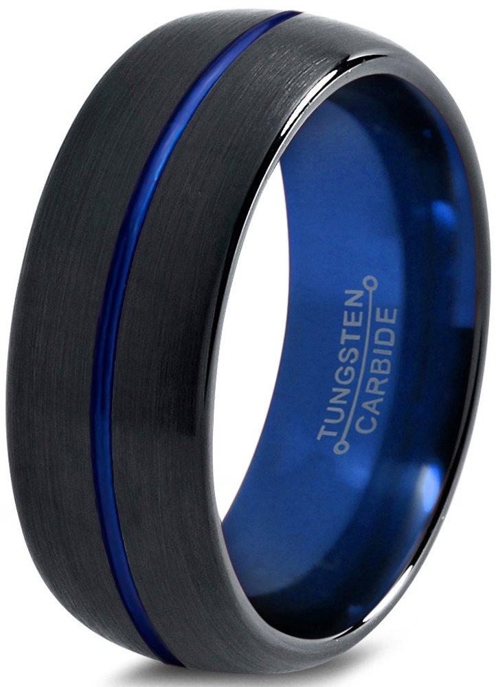Tungsten Wedding Band Ring 8mm for Men Women Blue Black Domed Brushed Polished Size 7.5