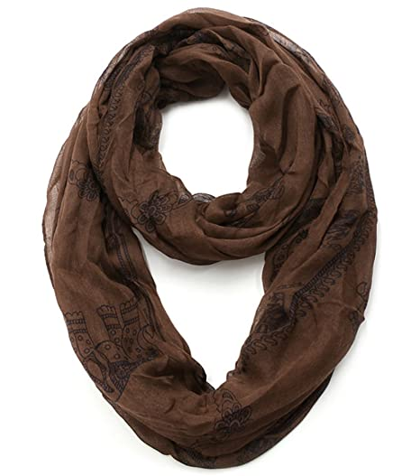 492f7df75b8af Plum Feathers Exotic Indian Elephant Print Infinity Scarf (Brown Elephant)  at Amazon Women's Clothing store: