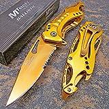 Mtech Ballistic Gold Titanium Bottle Opener Folding Pocket Knife Review