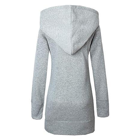 Xinvision Mujer Zip Abrigo Espesar Leopardo Suéter Hoodie Sudadera - Chaqueta de Manga Larga Sweater Sweatshirt Gris: Amazon.es: Ropa y accesorios