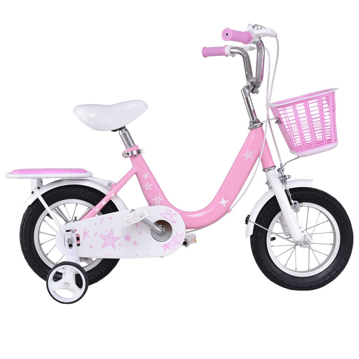 Goplus Kids Bike Boy's and Girl's Bicycle with Training Wheels and Basket Perfect Gift for Kids, 12'' (Pink)
