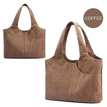 Women Durable Canvas Tote Large Capacity Handbag Top Handle Bag Zipper Large