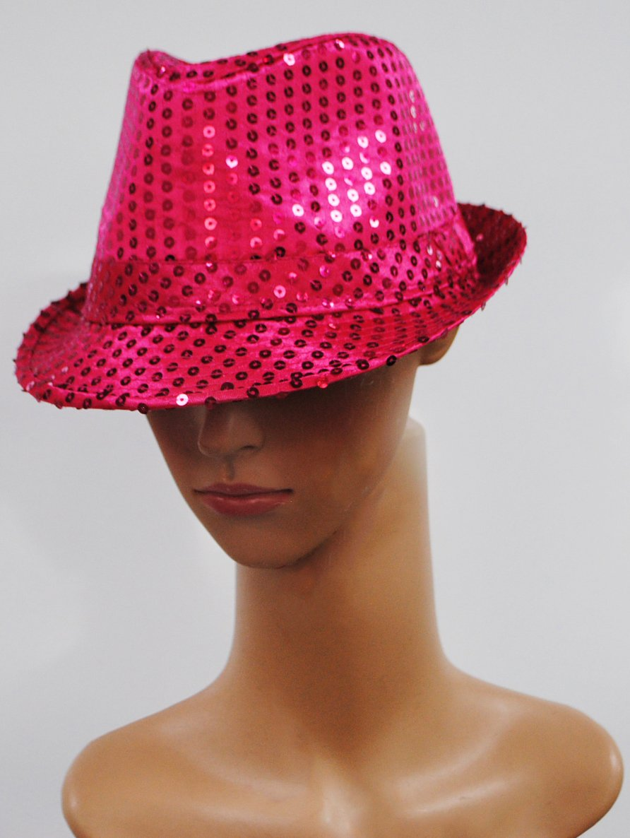 caaf7ee0 Unisex Pink Sequin Glitter Hat Dance Stage Party Costume Fun Show Gangster  Disco Fedora Trilby Costume Fancy Dress Race for life H35218-HT7249 WN: ...