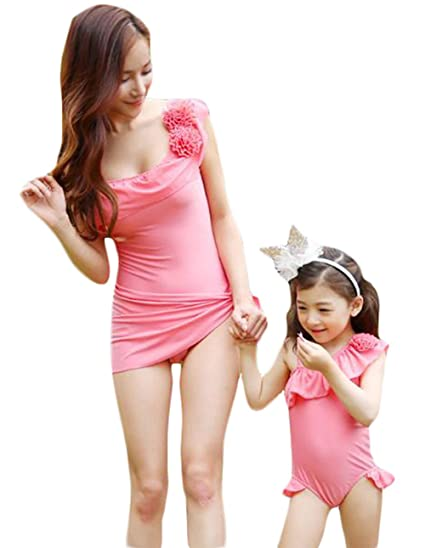 f0ecc44a9f Amazon.com: Family Matching Mommy and Me Ruffle Floral One Shoulder One-piece  Swimsuit: Clothing