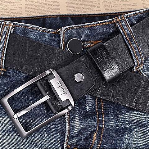 Men's Waistband Leather Belts Trousers Pin Buckle Waist Strap Fashion, 100% brand new &(Black) (Allen Edmonds Belt 50)