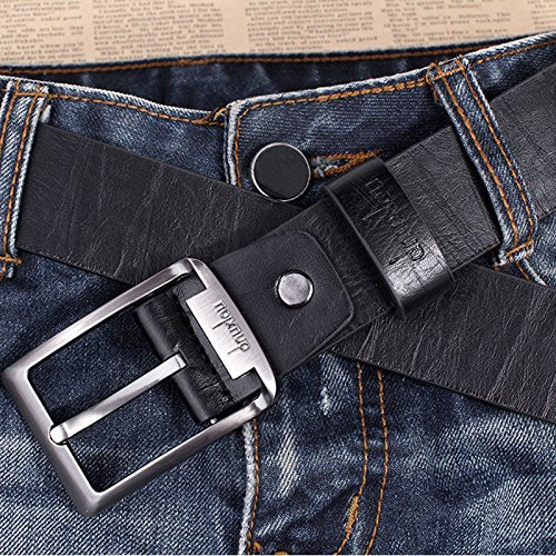 Men's Waistband Leather Belts Trousers Pin Buckle Waist Strap Fashion, 100% brand new &(Black) (Banana Republic Black Linen)