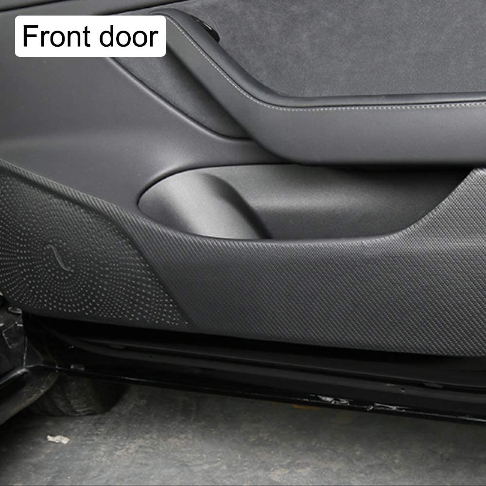 Carwiner Tesla Model 3 Door Protector Door Kick Panels Anti-Kick Mat Accessories Carbon Fiber Texture Pu Leather Set of 4 Complete Coverage