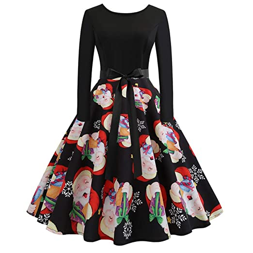Christmas Series Dress-Womens Long Sleeve Xmas Printing Vintage Gown Evening Party Dress