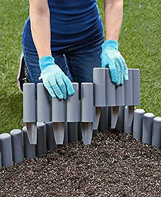 The Lakeside Collection 7-Ft. Border Fence Set Gray