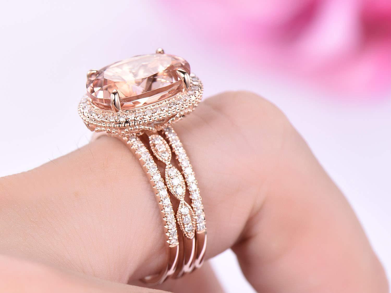 Oval Morganite Engagement Ring Trio Set Pave Diamond 14K Rose Gold 10x14mm