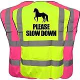 Equestrian Hi Vis Viz Vest Please Slow Down Reflective Safety Waistcoat
