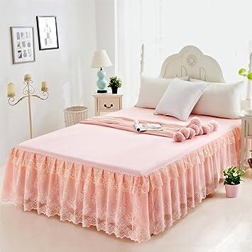 Hxxkact Bettvolant Tagesdecke Bettüberwurf,Volltonfarbe Spitze Dekoration  Schlafzimmer Queen King Bett 17.7 Zoll Fallen