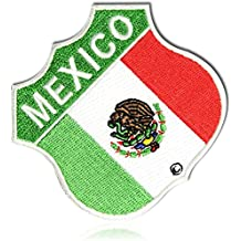 "[1 Count Single] Custom and Unique (2.75"" Inch) Square Bold Classic ""Mexico"" Fiesta Flag Vacation Emblem Motorcycle Biker Gang Phrase Gangster Design Iron On Embroidered Applique Patch {Multicolor}"
