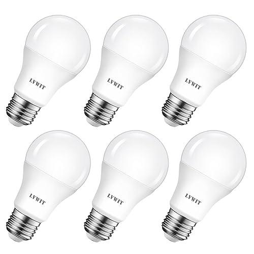 LVWIT Bombillas LED A60 Casquillo E27 8 5W equivalente a 60W 6500K Luz Blanca Fría 806 lm Bajo consumo No regulable Pack de 6 Unidades